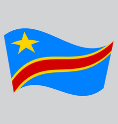 flag of dr congo waving on gray background vector image vector image