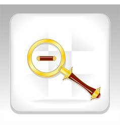 Gold magnifier icon or button with minus vector image vector image