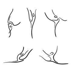 Rhythmic gymnastics sketches set vector image vector image