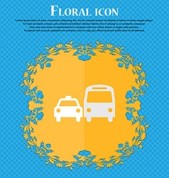 taxi Floral flat design on a blue abstract vector image vector image