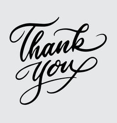 thank you handwriting calligraphy vector image vector image