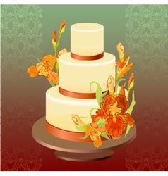 Wedding cake with red iris flower design vector image vector image