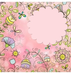 beautiful card with a floral pattern vector image vector image