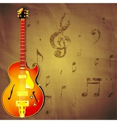 jazz guitar on paper background with music notes vector image vector image