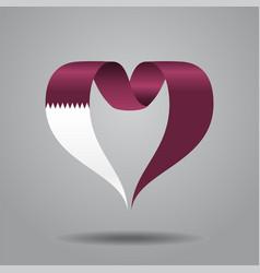 qatari flag heart-shaped ribbon vector image vector image