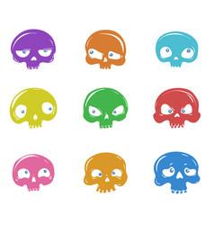 set of cartoon skulls vector image