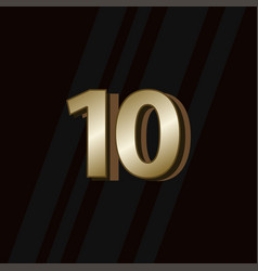 10 years anniversary gold elegant number template vector