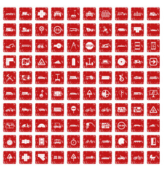 100 location icons set grunge red vector