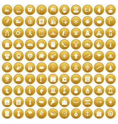 100 national holiday icons set gold vector