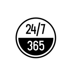 24 7 hours and 365 days icon any time working vector
