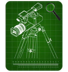 3d model tripod and camcorder on a green vector image