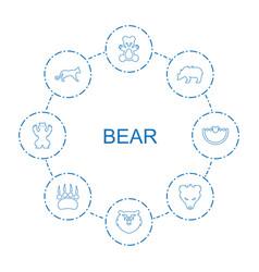 8 bear icons vector