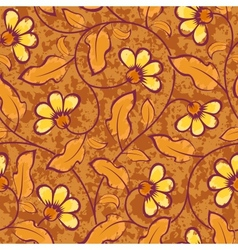 abstract yellow flowers brown seamless background vector image