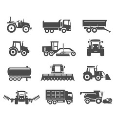 agricultural machinery vehicles black silhouette vector image