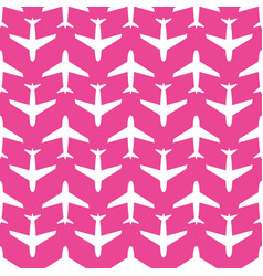 airplane seamless pattern white on pink vector image