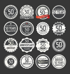 Anniversary retro labels 50 years collection 1 vector