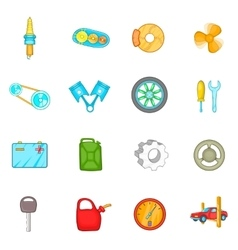 Auto spare parts icons set cartoon style vector image