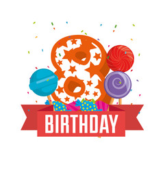 birthday card with candle number eight vector image