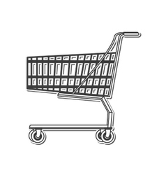 black line shopping cart icon vector image