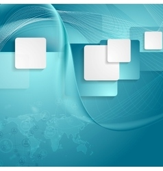 Blue tech background with squares waves and map vector