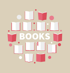 books colorful round reading vector image