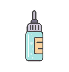 Bottle with liquid medicine linear icon vector