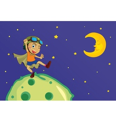 Boy on the moon vector image