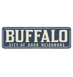 Buffalo vintage rusty metal sign vector