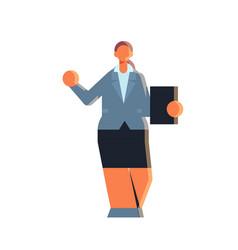 businesswoman holding folder clipboard paper vector image