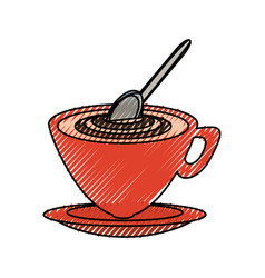 Cappuccino and spoon vector