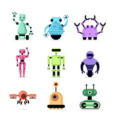 Cartoon robots set isolated on white vector