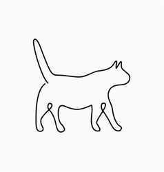 cat one line drawing continuous line pet animal vector image