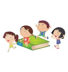 Children and giant green book vector
