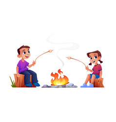 children rest at campfire together marshmallow bbq vector image