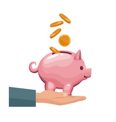 Coin depositing in a money piggy bank on human vector