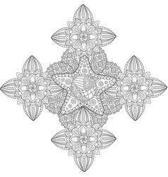 coloring book page with star in the center vector image