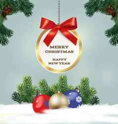 Congratulatory Christmas background with fir vector image