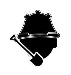 Construction worker and shovel icon vector