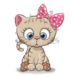 Cute cartoon kitten girl vector