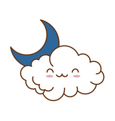 Cute cloud with moon kawaii character vector