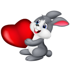 Cute little bunny holds red hart vector image