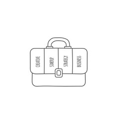 doodle briefcase infographic with 4 options hand vector image