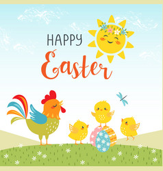 easter design of cute happy chicks vector image