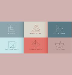 Elegant clean minimal logo design collection of vector
