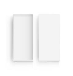 Empty rectangular box with lid mockup top view vector