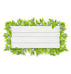 empty white wooden sign with tree branch vector image