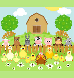 Farm background with funny animals vector