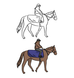 female jockey on horse sketch vector image