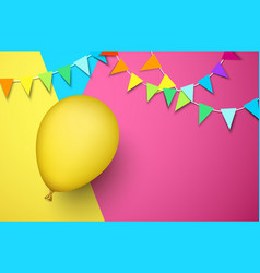 festive background with yellow balloon and flags vector image
