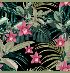 ficus palm leaves and pink orchid flowers pattern vector image
